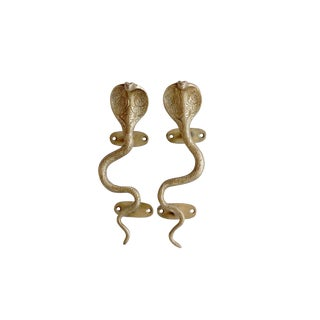 Gold Brass Cobra Door Handles - a Pair For Sale