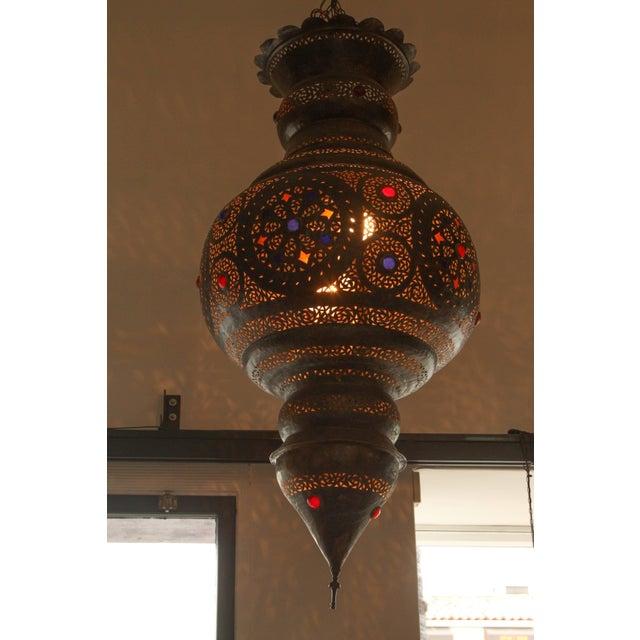 Gold Large Vintage Moroccan Bronze Chandelier For Sale - Image 8 of 9