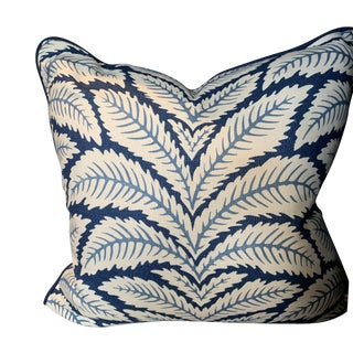 Contemporary Brunschwig & Fils Talavera Leaf Indigo Blue Pillow For Sale
