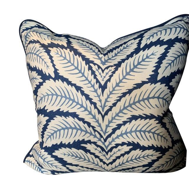 Contemporary Brunschwig & Fils Talavera Leaf Indigo Blue Pillow For Sale