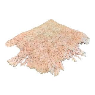 """Vintage Cottage 93"""" Handmade Crochet Throw Blanket Pink Bedspread For Sale"""