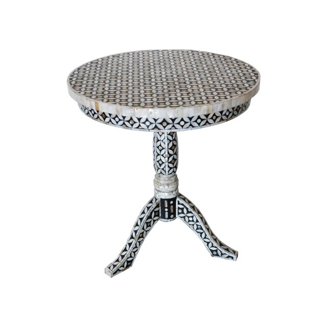 Mother of Pearl and Bone Round Side Table For Sale - Image 4 of 4
