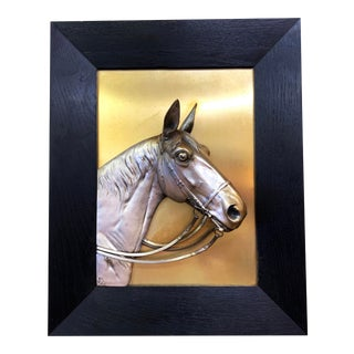 Antique Silverplate Horse Head Wall Plaque Framed in Oak Wood, 1936 For Sale