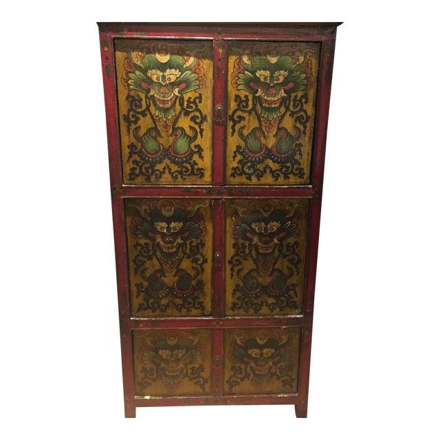 Antique Tibetan Hand-Painted Six Door Cabinet - Image 1 of 9