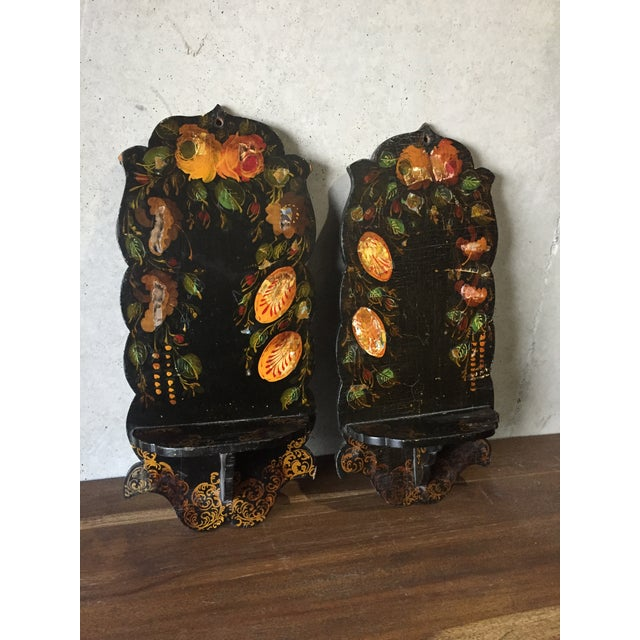Pair Of Hand Painted Floral Sconces - Image 2 of 8