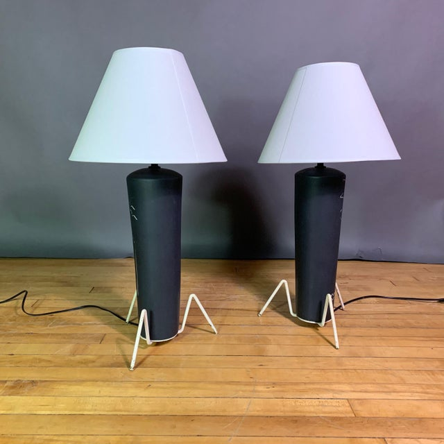 Pair 1950s Glazed Ceramic Sgraffito Lamps For Sale In New York - Image 6 of 10