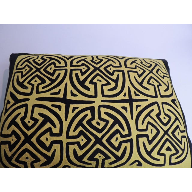 Boho Chic Vintage Yellow and Black Graphic Mola Decorative Pillow For Sale - Image 3 of 5