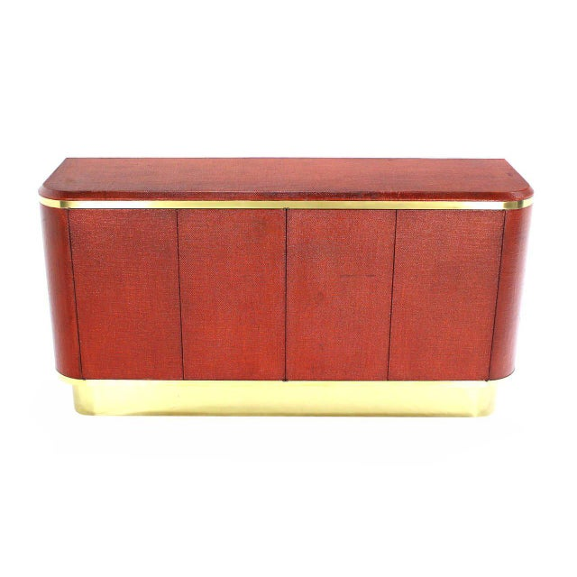 Grass Cloth Brass Credenza or Cabinet or Sideboard Red Brick Color For Sale - Image 4 of 8