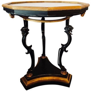 Ebony and Gilt Marble Top Octagonal Shaped Centre or End Table or Pedestal For Sale