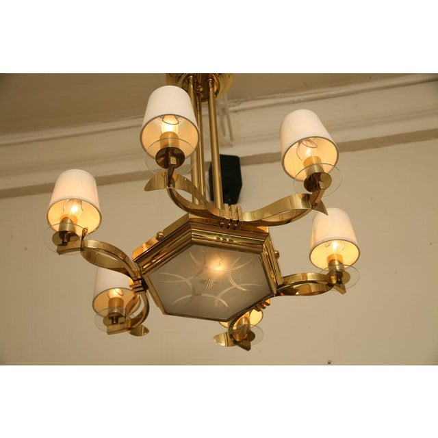 French Brass and Glass Chandelier Inspired by Gilbert Poillerat - Image 3 of 9