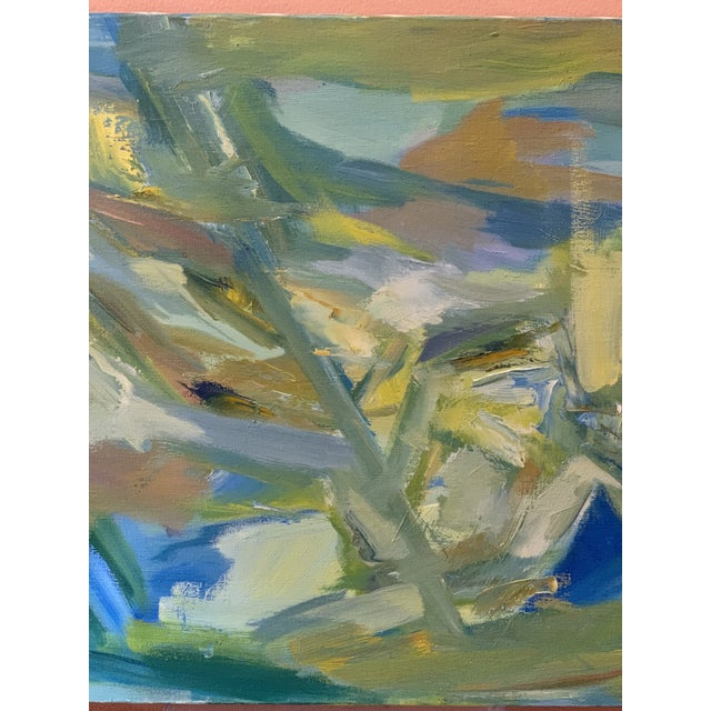 """Mid-Century Modern Abstract Oil Painting on Canvas """"Venice"""" 1964 For Sale - Image 4 of 11"""