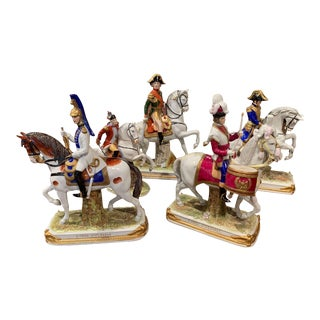 Set of Five Midcentury French Napoleonic Porcelain Riders on Horses Figures For Sale