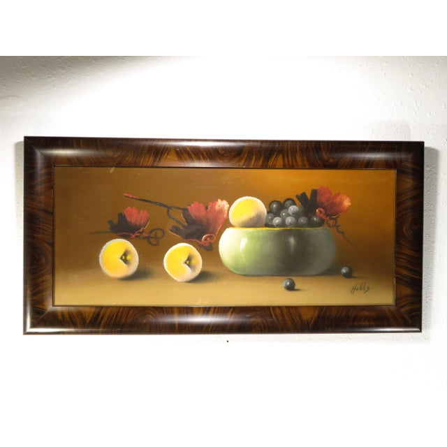 Wood Antique 19th Century Signed Still Life Fruit Bowl Pastel Painting For Sale - Image 7 of 7