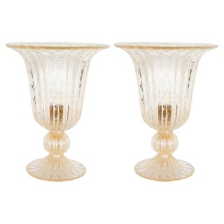 Modernist Handblown Murano Translucent Glass 24kt Yellow Gold Fleck Uplights - a Pair For Sale