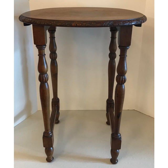 French Vintage Carved Top Oval Shaped Drink Table For Sale - Image 3 of 8