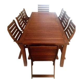 Solid Wood Patio Dining Set For Sale