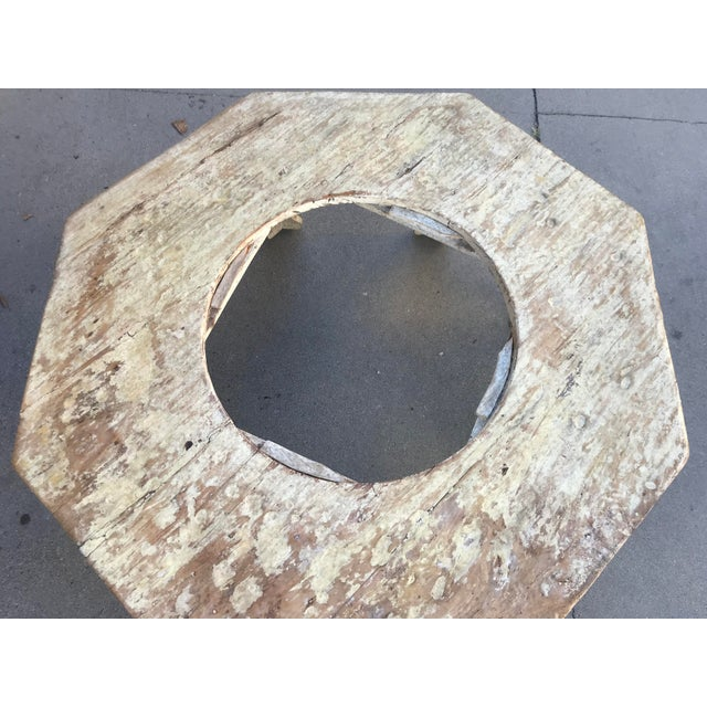 Wood Moroccan Distressed Wood Octagonal Coffee Table For Sale - Image 7 of 13