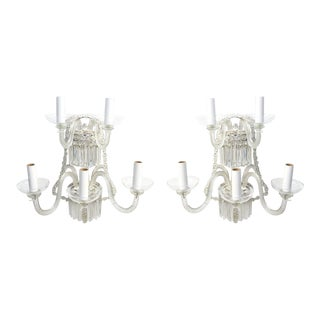 Pair of Clear Venetian Sconces with Silverplate Backplates. For Sale
