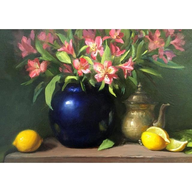 Alstroemeria, Lemons & Silver Teapot Oil Painting - Image 4 of 7