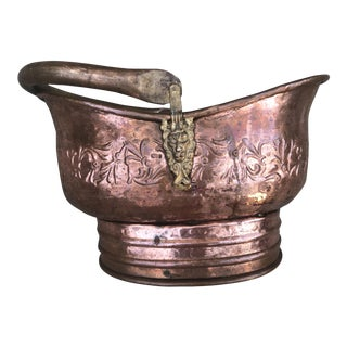 19th Century Georgian Copper Coal Scuttle For Sale