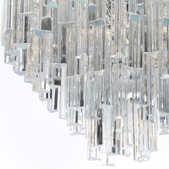 1970's VINTAGE CAMER TIERED ITALIAN CRYSTAL CHANDELIER For Sale In New York - Image 6 of 10