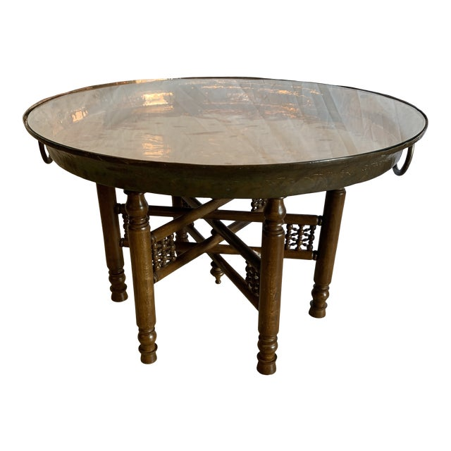 Heavy Copper Glass Moroccan Tray Table For Sale