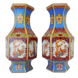 Chinese Porcelain Famille Rose Vases- A Pair For Sale