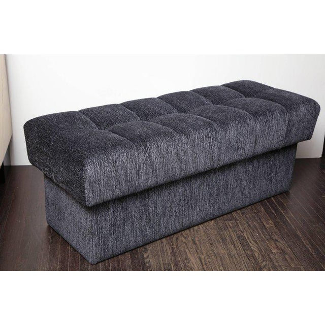 Fabric Custom Tufted Bench with Interior Storage For Sale - Image 7 of 7