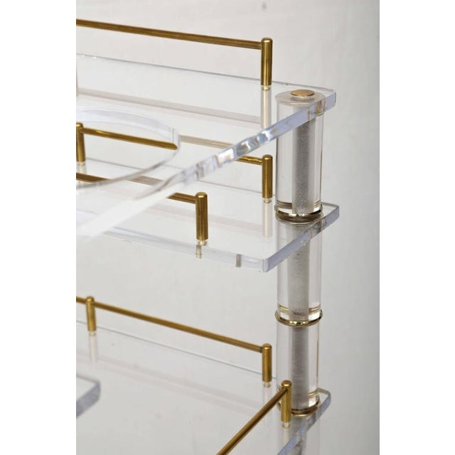Lucite and Brass Bar Cart on Casters in the Style of Hollis Jones - Image 5 of 9