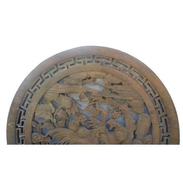 Chinese Vintage Round 3 Roosters Wall Plaque - Image 2 of 4