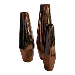 Contemporary Ceramic Copper Finish Vases - Set of 3