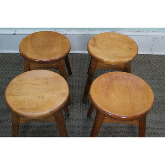Vintage Solid Maple Stools or Benches - Set of 4 - Image 3 of 10