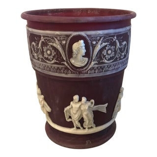 Neoclassical Red and Ivory Jardiniere Planter For Sale