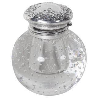 Pairpoint Sterling Silver and Crystal Inkwell For Sale
