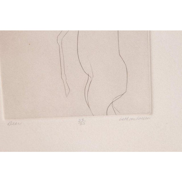 Etching of a Deer by Beth Van Hoesen (1926-2010) California For Sale - Image 9 of 13