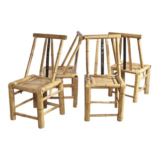 Asian Bamboo Dining Chairs - Set of 4 For Sale