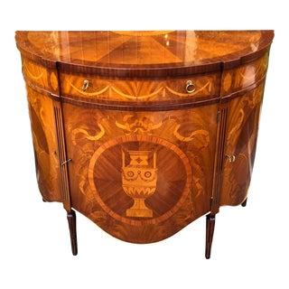 Fine Italian Marquetry Scenic Inlaid Demilune Console Table Cabinet For Sale