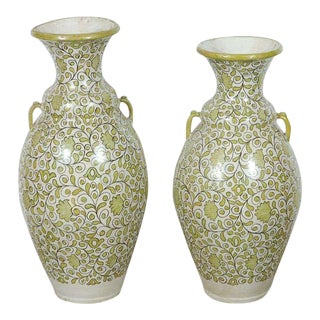 Moroccan Green Hand-Painted Vases With Handles - A Pair For Sale