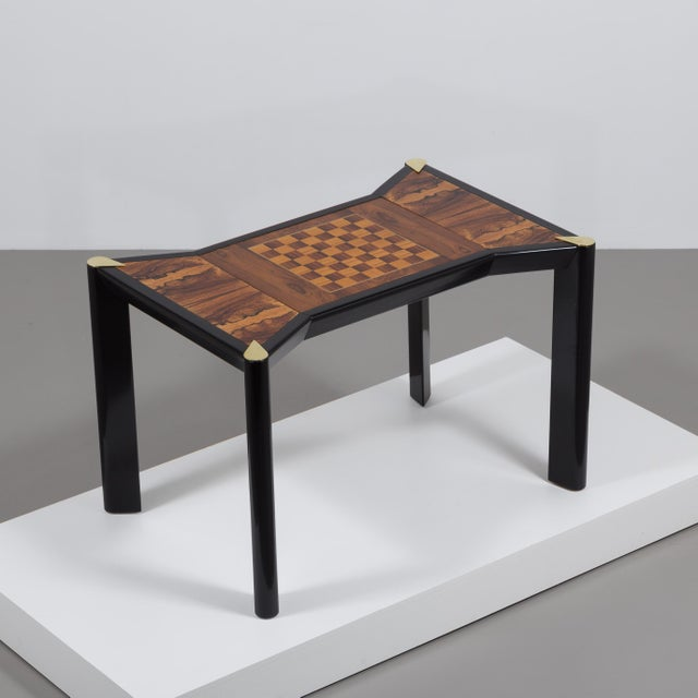An Italian Ebonised Wood and Brass Games Table 1950s - Image 3 of 10