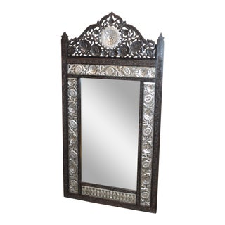 Unique Carved Ornate Solid Black Teak & Silver Finish Wall Mirror For Sale
