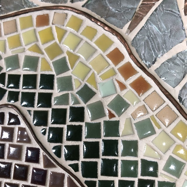 1960s Vintage Tile Glass and Copper Encased Mosaic Wall Hanging For Sale In Austin - Image 6 of 12