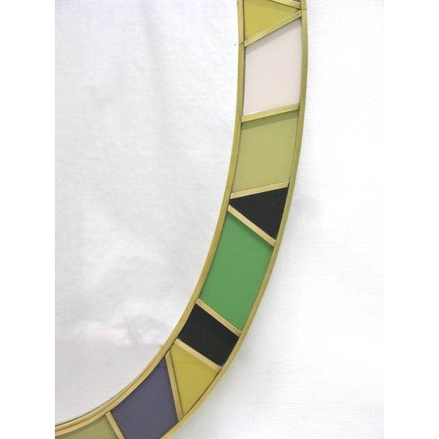 1970s Italian Modern Oval Mirror in Green Grey Blue Yellow Black White and Brass For Sale - Image 4 of 10