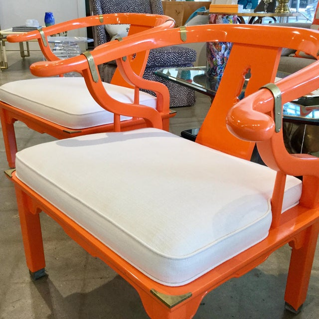 Asian Mid 20th Century Orange Lacquer Ming Chairs - a Pair For Sale - Image 3 of 7