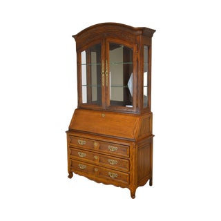 French Country Style Oak Curio Cabinet Top Secretary Desk by Century For Sale