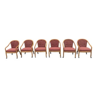 Mid-Century Oak Upholstered Dining Chairs - Set of 6