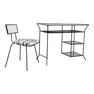 Vintage Salterini Style Mid-Century Modern Wrought Iron Vanity Desk & Chair