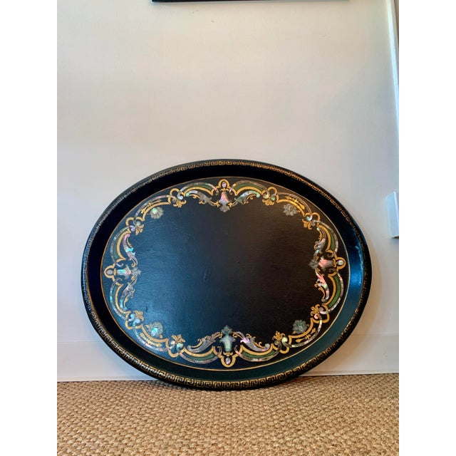 Wood 19th Century Black Paper Mache VictorianTray With Mother of Pearl Inlay For Sale - Image 7 of 7
