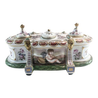 19th C Capodimonte Bas-Relief Musical Cherubs Double Inkwell Porcelain For Sale