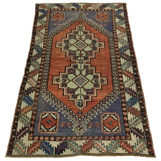 Vintage Double-Medallion Anatolian Carpet in Terra Cotta and Azure Blue For Sale