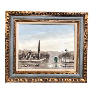 Vintage Mid Century Original Oil Painting of Paris For Sale